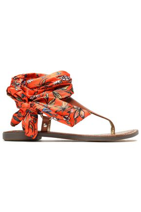 SAM EDELMAN Printed satin and leather sandals