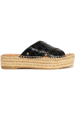 SAM EDELMAN Croc-effect leather platform espadrille slides