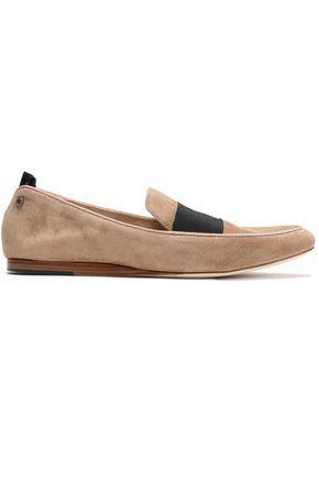 RAG & BONE Sia grosgrain-trimmed suede loafers