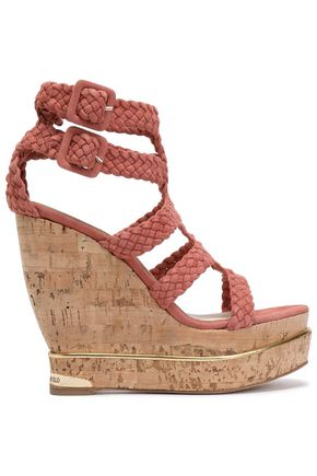 PALOMA BARCELÓ Woven suede wedge sandals