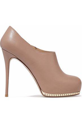 VALENTINO Stud-embellished leather platform ankle boots