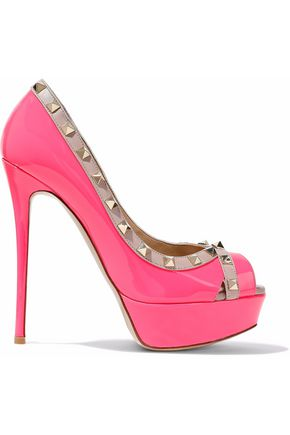 VALENTINO Studded smooth and neon patent-leather platform pumps
