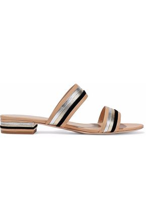 LOEFFLER RANDALL Rubie suede-trimmed matte and metallic leather sandals