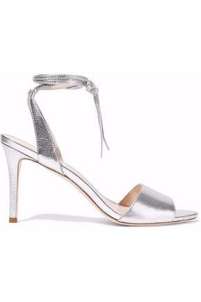 Woman Elyse Mirrored Textured-Leather Sandals Silver