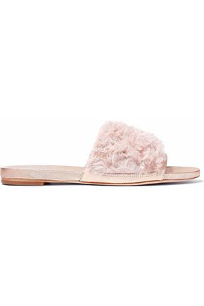 LOEFFLER RANDALL Metallic textured-leather and shearling slides