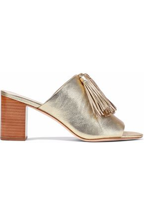 LOEFFLER RANDALL Tasseled metallic cracked-leather mules