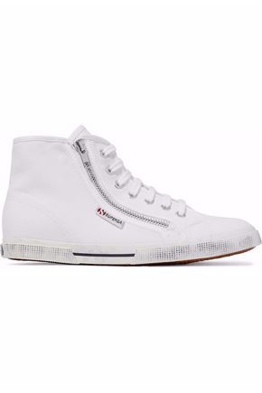 SUPERGA® Distressed zipped canvas high-top sneakers