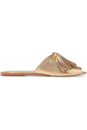 LOEFFLER RANDALL Tasseled metallic textured-leather slides