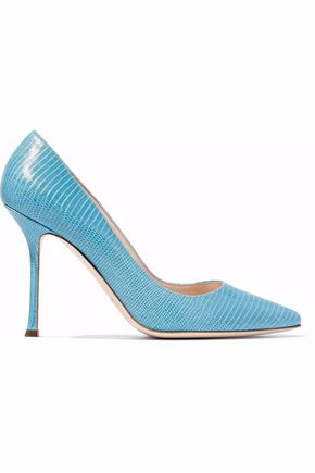 SERGIO ROSSI Lizard-effect leather pumps