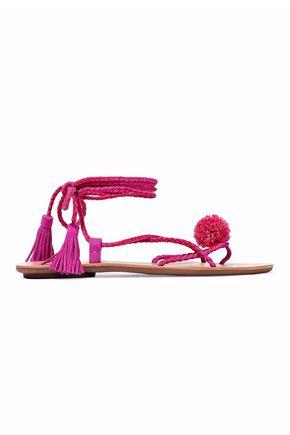 LOEFFLER RANDALL Pompom-embellished woven suede sandals