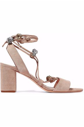 LOEFFLER RANDALL Bea lace-up pompom-embellished suede sandals