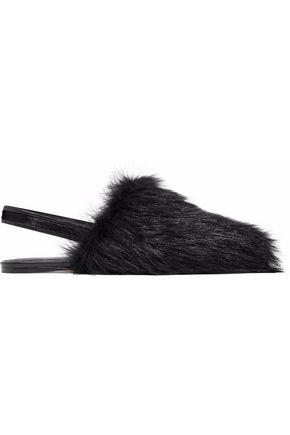 ROSETTA GETTY Calf hair slingback slippers