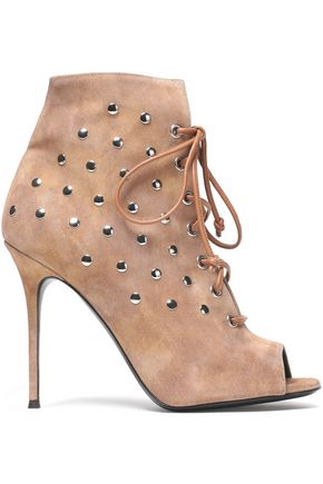 GIUSEPPE ZANOTTI DESIGN Lace-up studded suede ankle boots