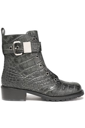 GIUSEPPE ZANOTTI DESIGN Buckled croc-effect leather ankle boots