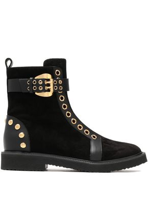 GIUSEPPE ZANOTTI DESIGN Buckled studded leather-trimmed suede ankle boots
