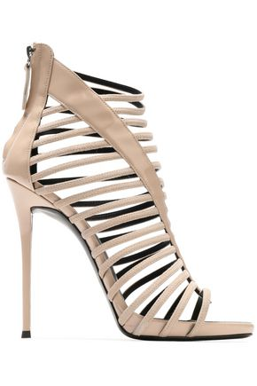GIUSEPPE ZANOTTI DESIGN Patent leather-trimmed cutout suede sandals