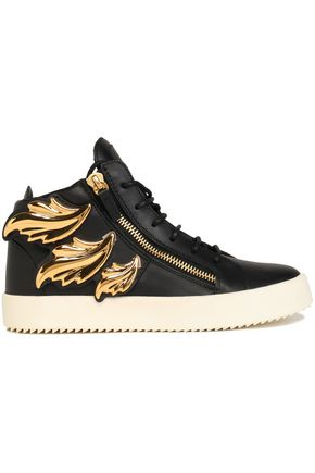 GIUSEPPE ZANOTTI DESIGN Embellished leather high-top sneakers