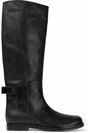 MM6 MAISON MARGIELA Woman Textured And Brushed-leather Knee Boots Size 41 9OGk6