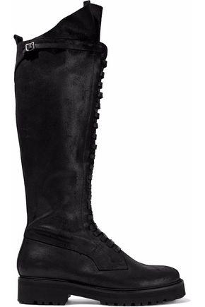 MM6 MAISON MARGIELA Lace-up brushed-leather knee boots
