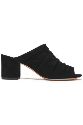 ALEXANDRE BIRMAN Ruched suede mules