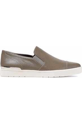 VINCE. Snake-effect leather slip-on sneakers