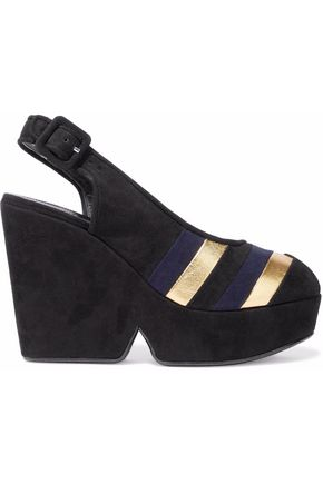 ROBERT CLERGERIE Metallic leather-paneled suede platform sandals