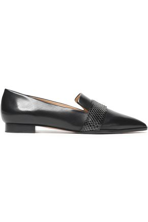 ALEXANDRE BIRMAN Snake-effect paneled leather slippers