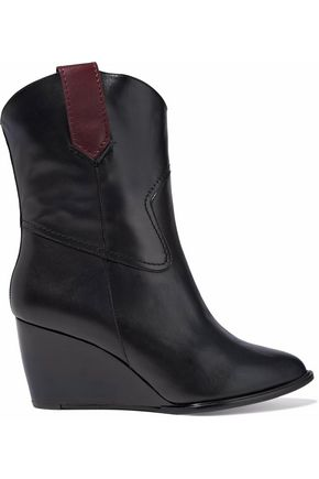 ROBERT CLERGERIE Paneled leather wedge boots