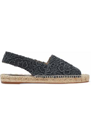 STELLA McCARTNEY Guipure lace and canvas slingback espadrilles