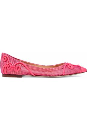 VALENTINO Neon leather and mesh point-toe flats