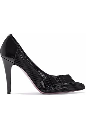 JUST CAVALLI Bow-detailed patent leather-trimmed mesh pumps