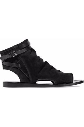 VINCE. Buckled leather-trimmed suede sandals