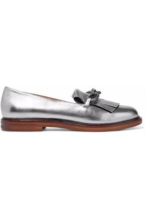MM6 MAISON MARGIELA Metallic fringe-trimmed leather loafers