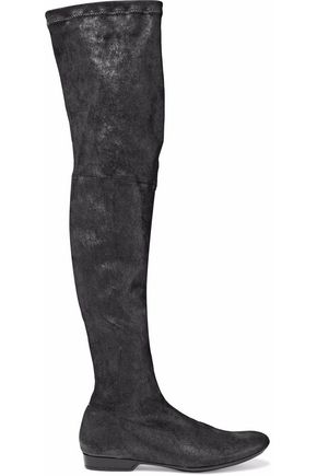 ROBERT CLERGERIE Coated suede over-the-knee boots