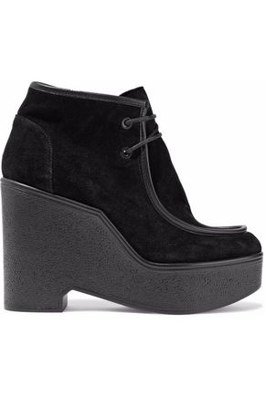 ROBERT CLERGERIE Leather-trimmed lace-up suede ankle boots