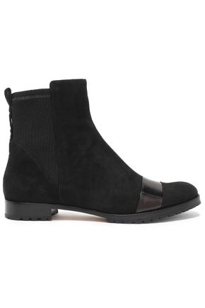 ALEXANDRE BIRMAN Glossed leather-trimmed suede ankle boots