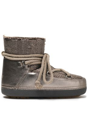 INUIKII Cable knit-paneled metallic textured-leather boots