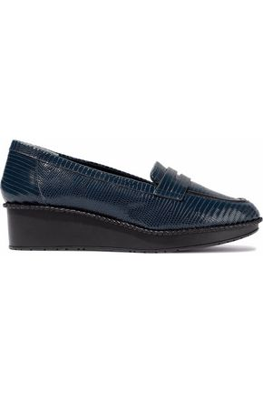 ROBERT CLERGERIE Lizard-effect leather platform loafers
