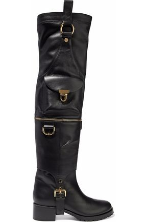 MOSCHINO Embellished leather over-the-knee boots