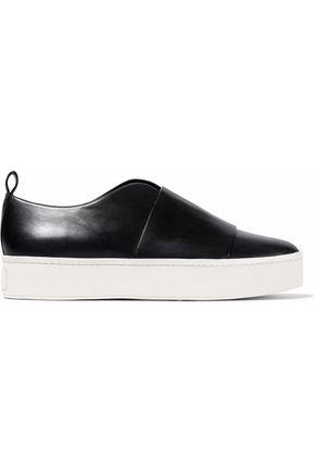 VINCE. Leather slip-on platform sneakers