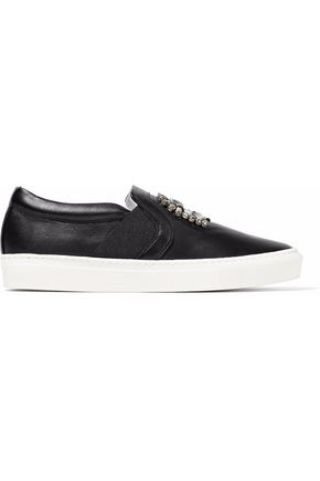 LANVIN Crystal-embellished leather slip-on sneakers