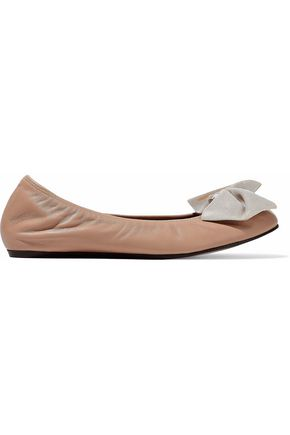 LANVIN Faux pearl and bow-embellished leather ballet flats