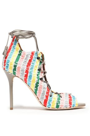 MALONE SOULIERS | Malone Souliers Lace-Up Frayed Printed Silk Sandals | Goxip