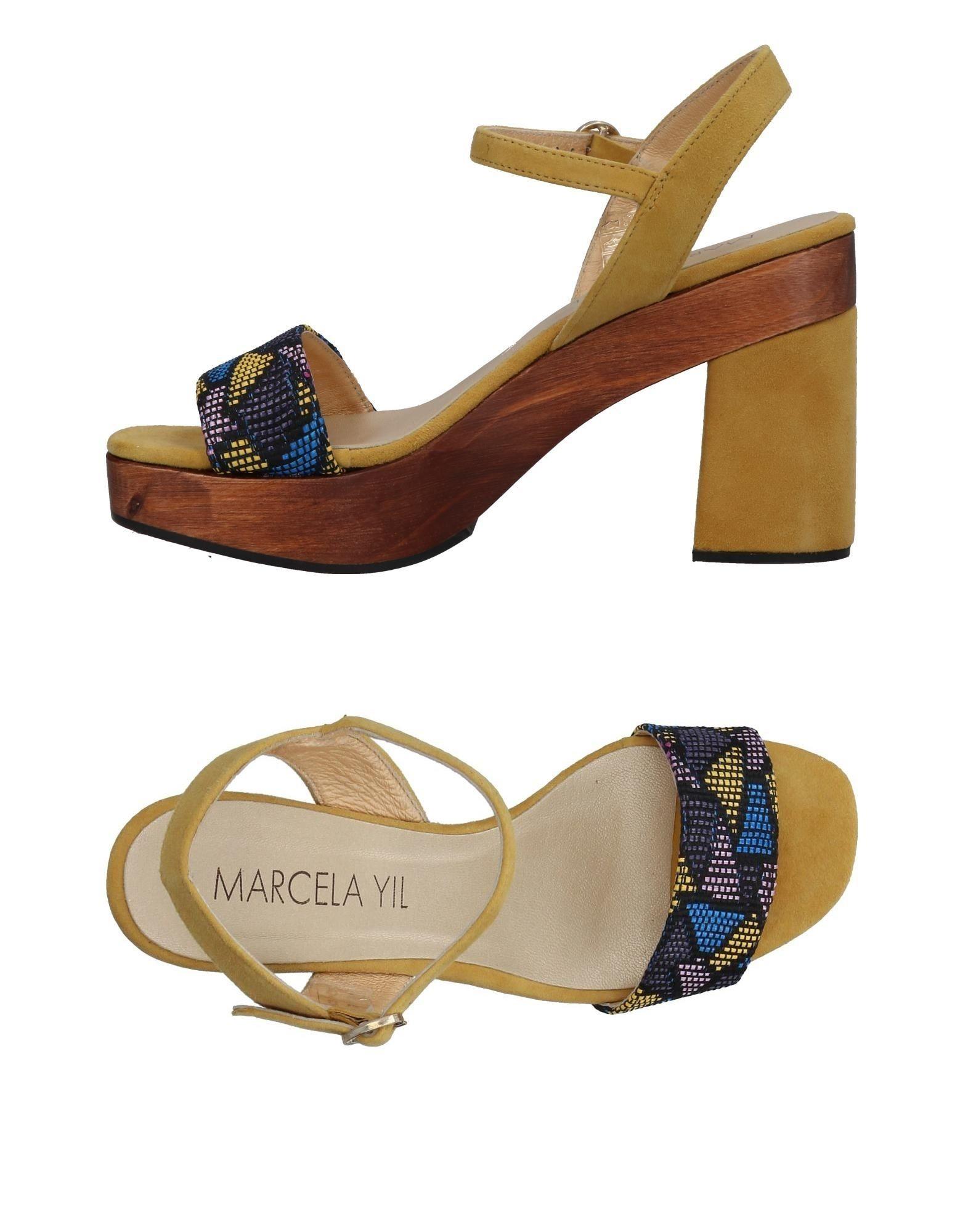 《送料無料》MARCELA YIL レディース サンダル ブラック 41 革 / 紡績繊維