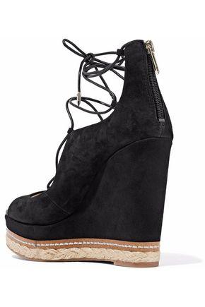 SAM EDELMAN Harriet lace-up suede wedge sandals