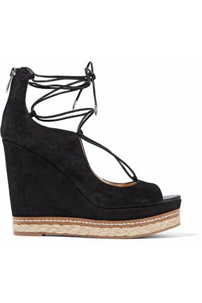 SAM EDELMAN Lace-up leather-trimmed suede platform wedge sandals