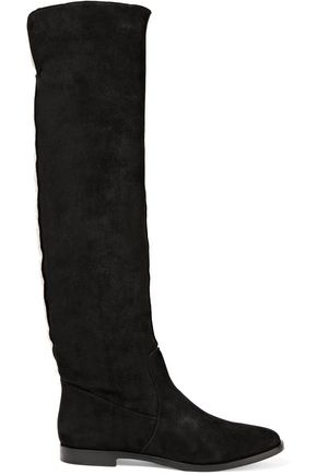 SERGIO ROSSI Shearling-lined suede knee boots