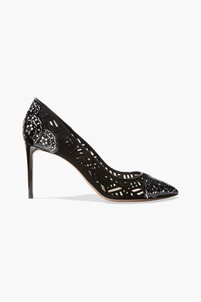 NICHOLAS KIRKWOOD Angie laser-cut patent-leather and suede pumps