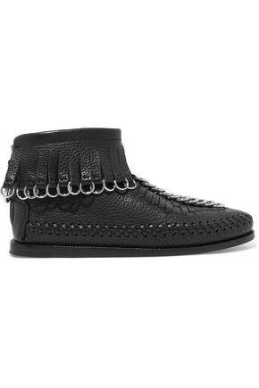 ALEXANDER WANG Embellished fringed textured-leather ankle boots