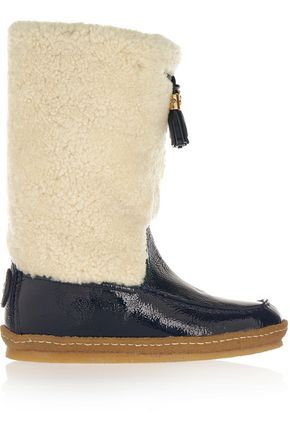 TORY BURCH Lenore shearling and patent-leather boots